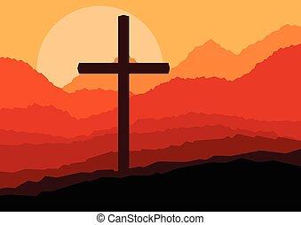 vetorial, crucifixos, paisagem, natureza