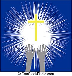 vetorial, crucifixos, religion., fé, cristão, hands., ilustração
