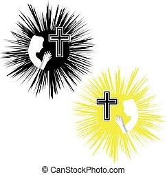 vetorial, crucifixos, religion., fé, cristão, women., ilustração