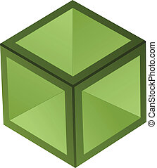 vetorial, cubo, 3d