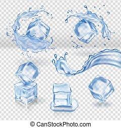vetorial, cubos, água gelo, respingo, transparente