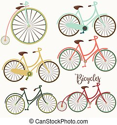 vetorial, cute, bicycles, jogo, design.eps