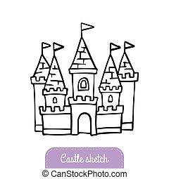 vetorial, cute, bom, magia, bandeira, cartão, indie, doodle, flyer., jogo, saudação, adesivo, ou, conto, hand-drawn, kingdom., convite, fada, castelo, logotipo, illustration.
