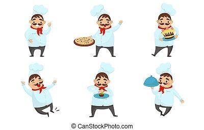 vetorial, cute, desgastar, cozinheiro, ilustração, cozinheiro, jogo, uniforme, bigode