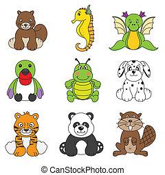 vetorial, cute, diferente, jogo, animal