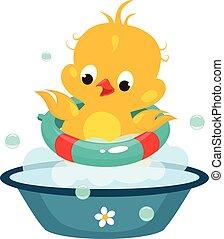 vetorial, cute, duckling, ilustração, bathroom.