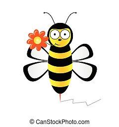 vetorial, cute, flor, ilustração, abelha