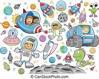 vetorial, cute, jogo, espaço exterior