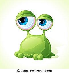 vetorial, cute, monstro verde, isolado, branco, experiência.