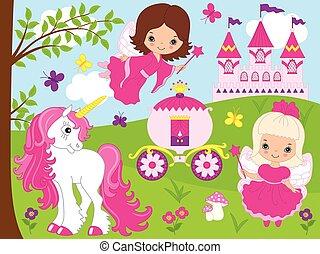 vetorial, cute, pequeno, fadas, com, unicórnio, carruagem, e, castle.