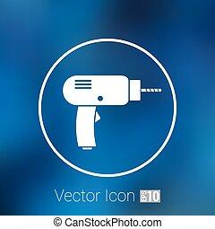 vetorial, dê ferramenta, ícone, manual, símbolo, broca poder