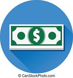 vetorial, dólar, ícone