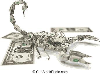 vetorial, dólar, origami, escorpião