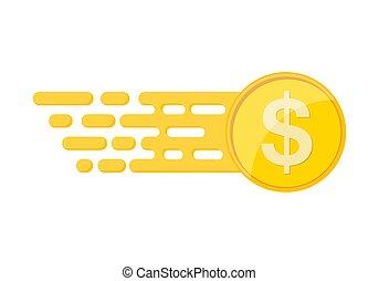 vetorial, dólar, ouro, coin., illustration.
