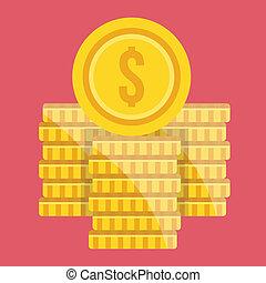 vetorial, dólar, pilhas, moeda, ícone