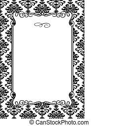 vetorial, damasco, quadro