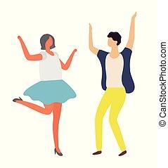 vetorial, dançar, discoteca, dançarino, mulher, partido, homem