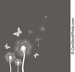 vetorial, dandelion, soprado, ilustração, sementes, vento