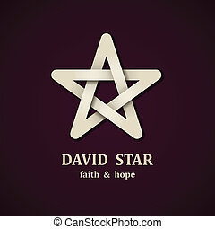 vetorial, david, estrela, símbolo, desenho, modelo