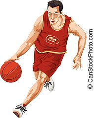 vetorial, de, basquetebol, player.
