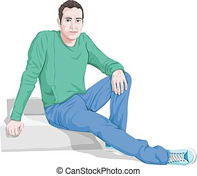 vetorial, de, elegante, assento homem, ligado, steps.