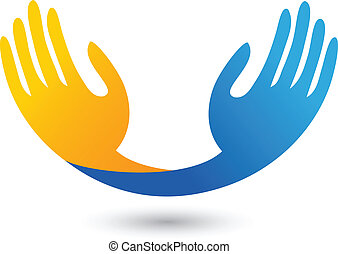 vetorial, de, esperançoso, mãos, logotipo