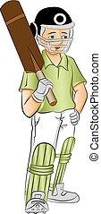 vetorial, de, jovem, grilo, batsman, com, um, bat.