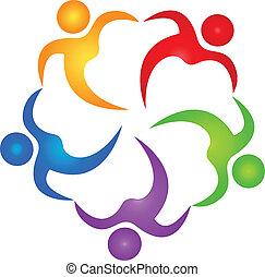 vetorial, de, trabalho equipe, ajudante, logotipo