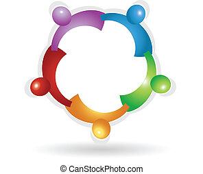 vetorial, de, trabalho equipe, ao redor, logotipo