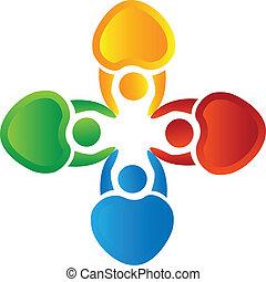 vetorial, de, trabalho equipe, corações, logotipo