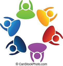 vetorial, de, trabalho equipe, mãos cima, logotipo