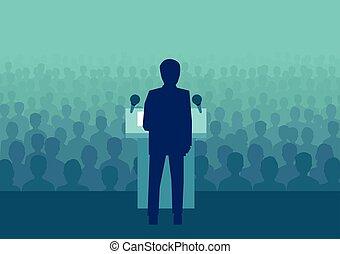 vetorial, de, um, homem negócios, ou, político, falando, para, um, grande, torcida, de, pessoas