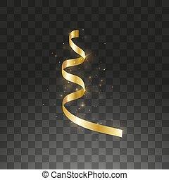vetorial, decoração, natal, serpentine., isolado, amarela, penduradas, dourado, experiência., ano novo, ilustração, elemento, glowing, flâmula, desenho, ouro, transparente, metálico, cacho, cor