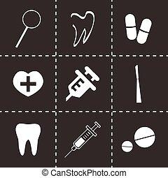 vetorial, dental, ícones, jogo