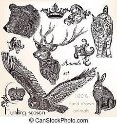 vetorial, desenhado, jogo, animais, mão