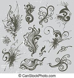 vetorial, desenhado, jogo, elementos, mão
