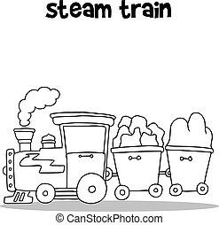 vetorial, desenhar, trem, vapor, mão