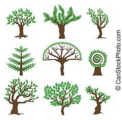 vetorial, desenho, árvore., jogo