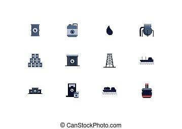 vetorial, desenho, ícone, indústria, isolado, óleo, jogo