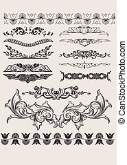vetorial, desenho, calligraphic, set:, ele
