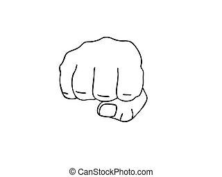 vetorial, desenho, de, a, punho, branco, fundo