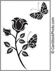 vetorial, desenho, de, pretas, flor