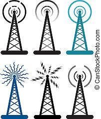 vetorial, desenho, de, torre rádio, símbolos