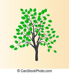 vetorial, desenho, de, um, jovem, árvore, com, verde sai