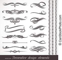 vetorial, desenho decorativo, elementos, &, página, decoração
