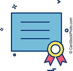 vetorial, desenho, diploma, distinção, ícone