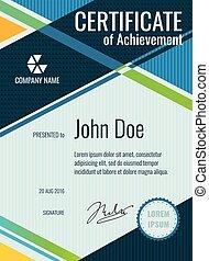 vetorial, desenho, distinção, certificado, realização