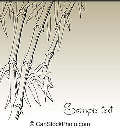vetorial, desenho, fundo, ramo, bambu