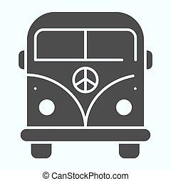 vetorial, desenho, glyph, teia, eps, projetado, estilo, 10., símbolo, autocarro, sólido, minibus, app., ilustração, isolado, hippie, paz, minivan, white., icon.
