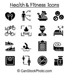 vetorial, desenho, gráfico, condicão física, ícone, dieta, jogo, brejo, ilustração